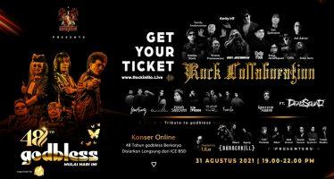 """Konser Online 48 Tahun """"godbless"""" – Mulai Hari Ini  Disiarkan langsung dari ICE BSD City, 31 Agustus 2021."""